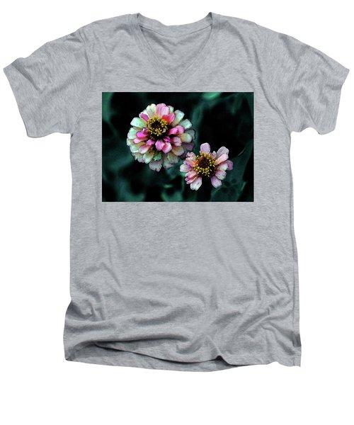 Watercolor Pink Zinnias And Smoke 2227 W_2 Men's V-Neck T-Shirt