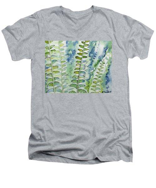 Watercolor - Rainforest Fern Impressions Men's V-Neck T-Shirt