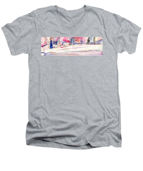 Watercolor River Men's V-Neck T-Shirt