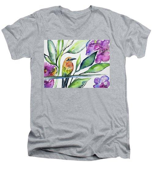 Watercolor - Rufous Motmot Men's V-Neck T-Shirt