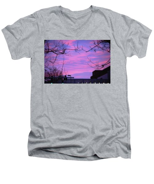 Men's V-Neck T-Shirt featuring the photograph Watercolor Sky by Sumoflam Photography