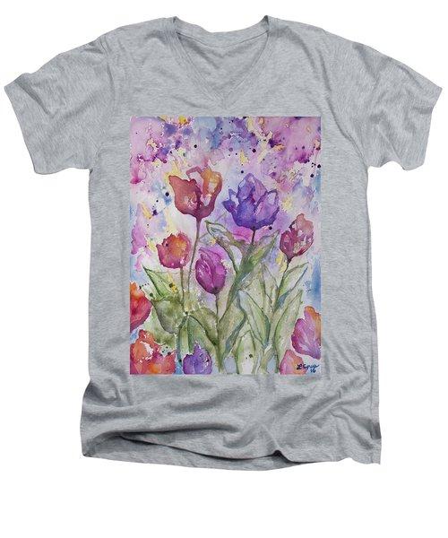 Watercolor - Spring Flowers Men's V-Neck T-Shirt