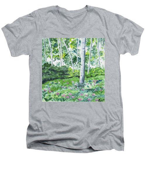 Watercolor - Spring Forest And Flowers Men's V-Neck T-Shirt