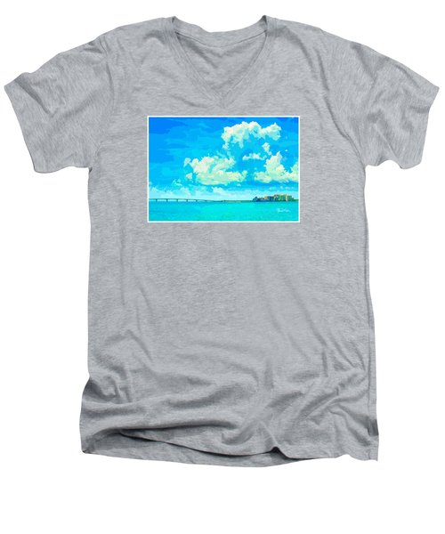 Watercolor Spring On Sarasota Bay Men's V-Neck T-Shirt by Susan Molnar