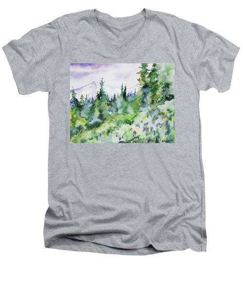 Watercolor - Summer In The Rockies Men's V-Neck T-Shirt