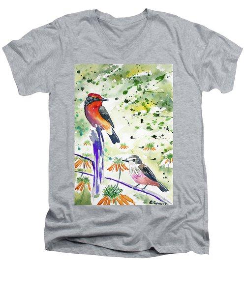 Watercolor - Vermilion Flycatcher Pair In Quito Men's V-Neck T-Shirt