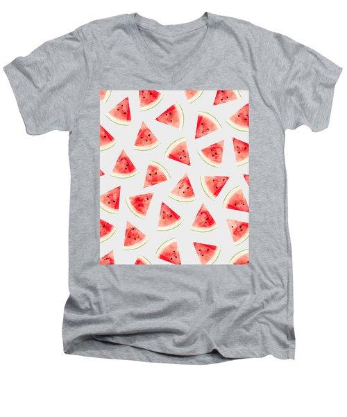 Watercolor Watermelon Pattern Men's V-Neck T-Shirt