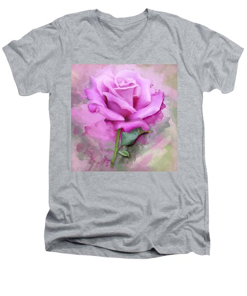 Watercolour Pastel Lilac Rose Men's V-Neck T-Shirt