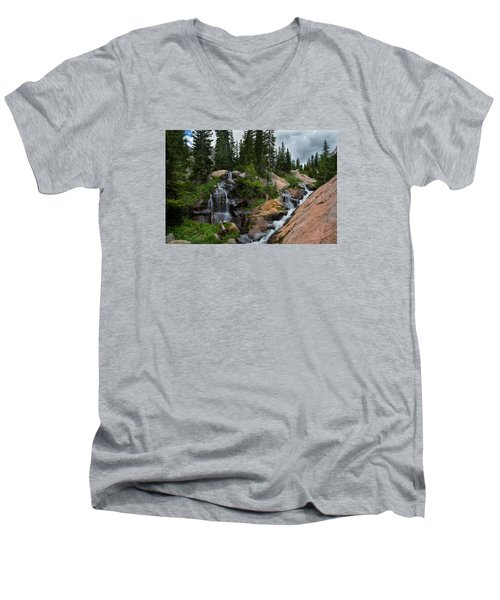 Waterfall Above Upper Slate Lake Men's V-Neck T-Shirt
