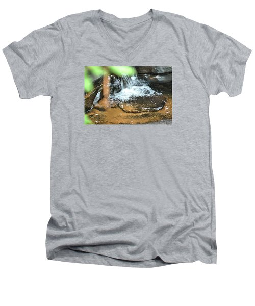Waterfall And Pool On Soap Creek Men's V-Neck T-Shirt by James Potts