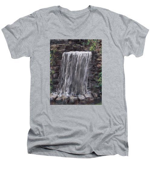 Waterfall At Longfellow's Gristmill Men's V-Neck T-Shirt by Jack Skinner