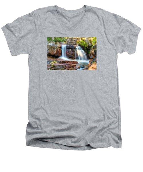 Waterfall Men's V-Neck T-Shirt by Gary Lengyel