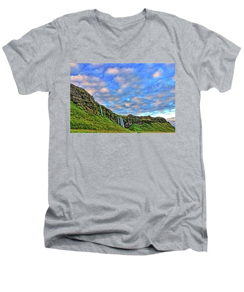 Men's V-Neck T-Shirt featuring the photograph Waterfall Hill by Scott Mahon