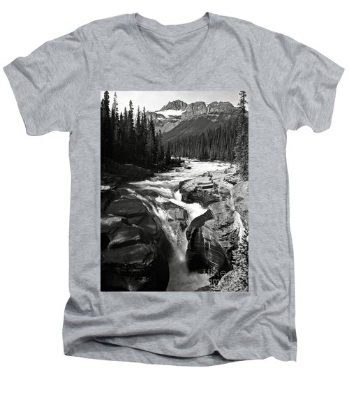 Men's V-Neck T-Shirt featuring the photograph Waterfall In Banff National Park Bw by RicardMN Photography