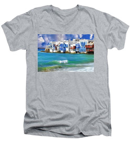 Waterfront At Mykonos Men's V-Neck T-Shirt by Dominic Piperata
