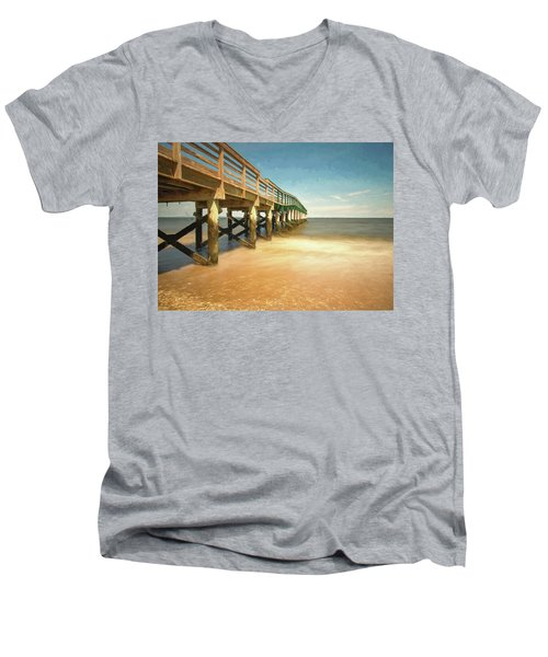 Men's V-Neck T-Shirt featuring the photograph Waterfront Park Pier 1 by Gary Slawsky
