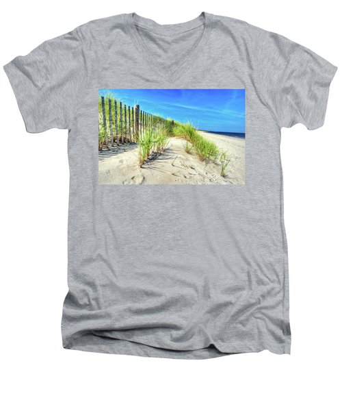Men's V-Neck T-Shirt featuring the photograph Waterfront Sand Dune And Grass by Gary Slawsky