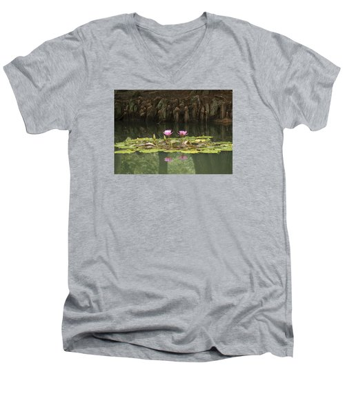 Men's V-Neck T-Shirt featuring the photograph Waterlilies And Cyprus Knees by Linda Geiger