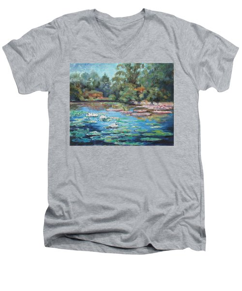 Waterlilies Pond In Tower Grove Park Men's V-Neck T-Shirt