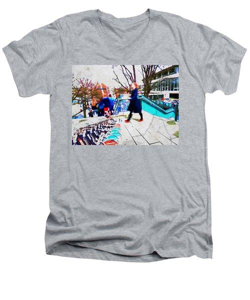 Waterloo Street Scene Men's V-Neck T-Shirt by Judi Saunders