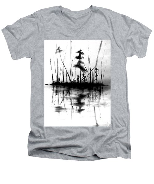 Men's V-Neck T-Shirt featuring the painting Waters Edge by Denise Tomasura