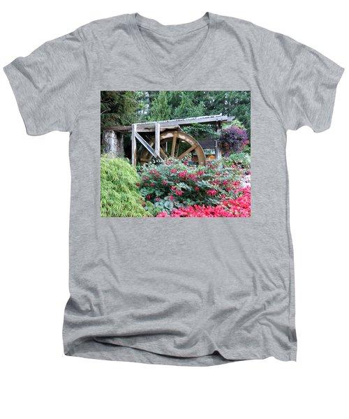 Waterwheel Men's V-Neck T-Shirt by Betty Buller Whitehead