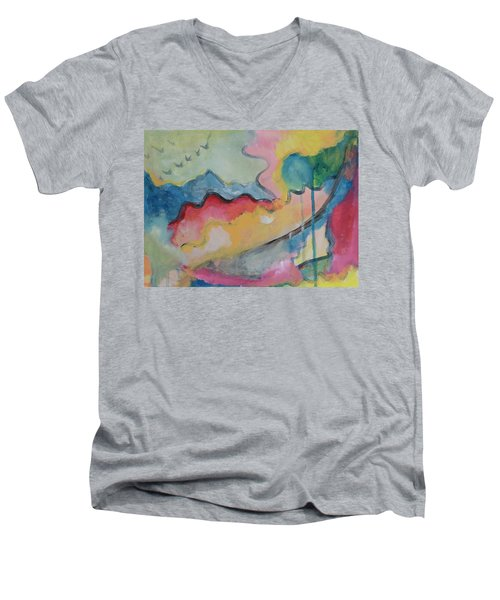 Men's V-Neck T-Shirt featuring the digital art Watery Abstract by Susan Stone