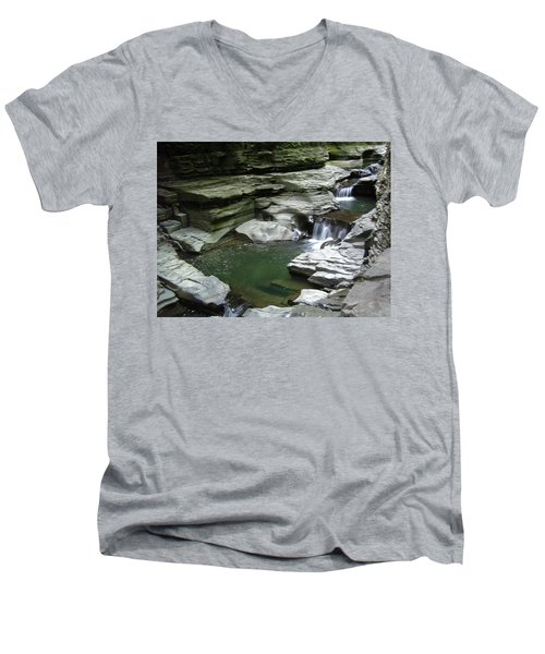Men's V-Neck T-Shirt featuring the photograph Watkins Glen State Park by John Schneider