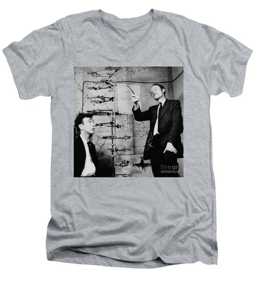 Watson And Crick Men's V-Neck T-Shirt by A Barrington Brown and Photo Researchers