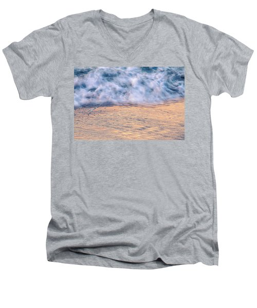 Men's V-Neck T-Shirt featuring the photograph Wave Abstract 3, Hoi An, 2014 by Hitendra SINKAR