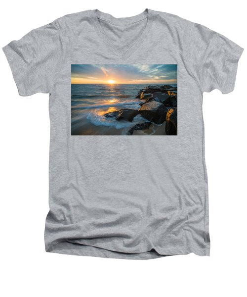 Men's V-Neck T-Shirt featuring the photograph Wave Break by Kristopher Schoenleber