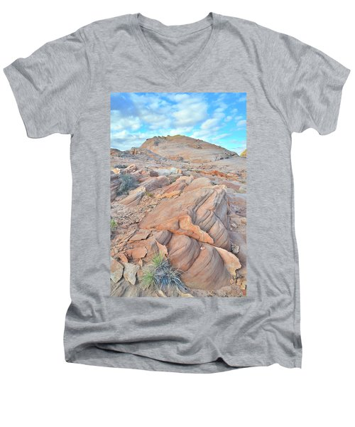 Wave Of Sandstone In Valley Of Fire Men's V-Neck T-Shirt by Ray Mathis