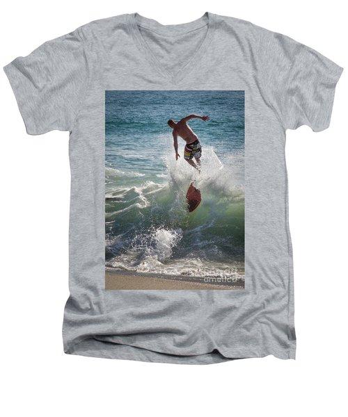 Wave Skimmer Men's V-Neck T-Shirt by Jim Gillen