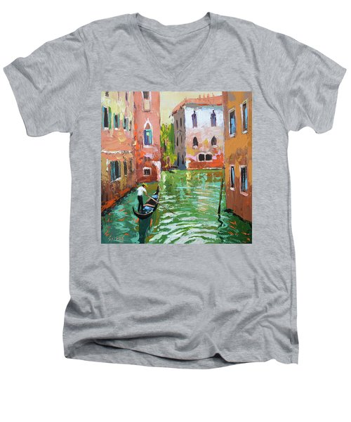 Wave Under The Oars Of The Gondola, City Scene. Men's V-Neck T-Shirt