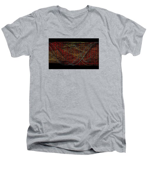 Men's V-Neck T-Shirt featuring the digital art Abstract Visuals - Wavelengths by Charmaine Zoe