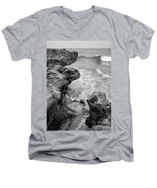 Waves And Coquina Rocks, Jupiter, Florida #39358-bw Men's V-Neck T-Shirt
