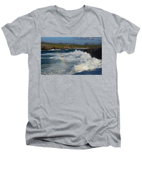 Waves And Rainbow At Clogher Men's V-Neck T-Shirt by Barbara Walsh