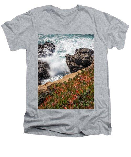 Waves And Rocks At Soberanes Point, California 30296 Men's V-Neck T-Shirt