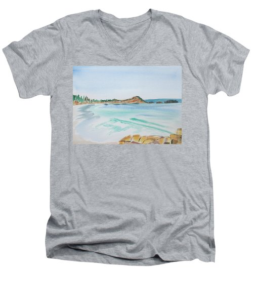 Waves Arriving Ashore In A Tasmanian East Coast Bay Men's V-Neck T-Shirt