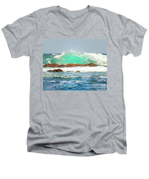 Waves At Pacific Grove California Men's V-Neck T-Shirt