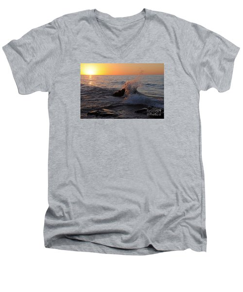 Men's V-Neck T-Shirt featuring the photograph Waves At Sunrise by Sandra Updyke