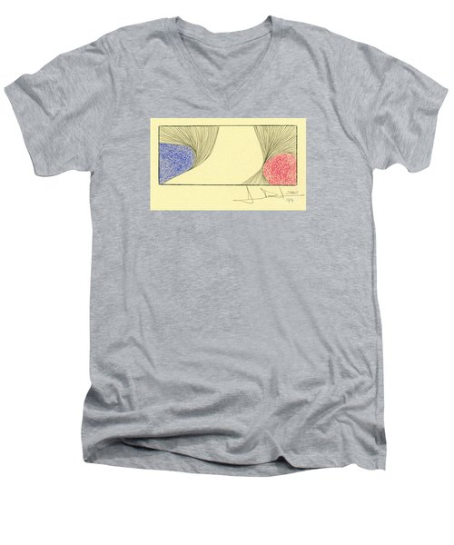Waves Blue Red Men's V-Neck T-Shirt