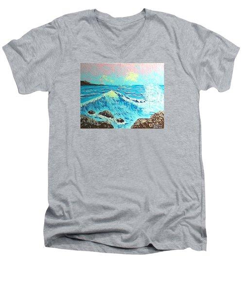 Waves Men's V-Neck T-Shirt by Brenda Bonfield