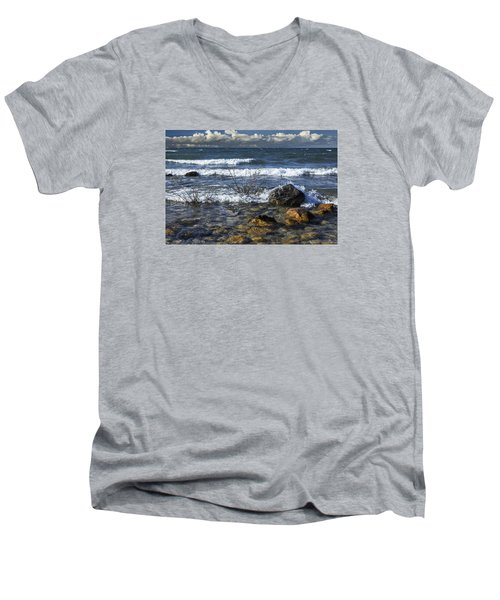 Waves Crashing Ashore At Northport Point On Lake Michigan Men's V-Neck T-Shirt