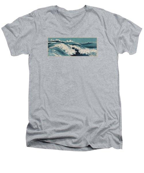 Waves Men's V-Neck T-Shirt by Konen Uehara