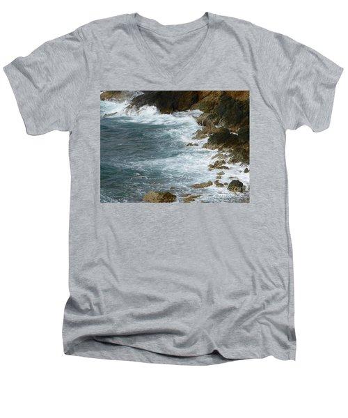 Waves Lashing Rocks Men's V-Neck T-Shirt by Margaret Brooks