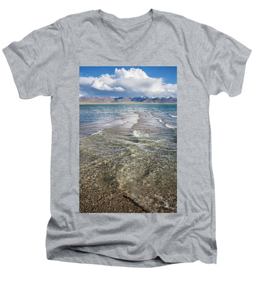 Men's V-Neck T-Shirt featuring the photograph Waves Of Namtso, Tibet, 2007 by Hitendra SINKAR