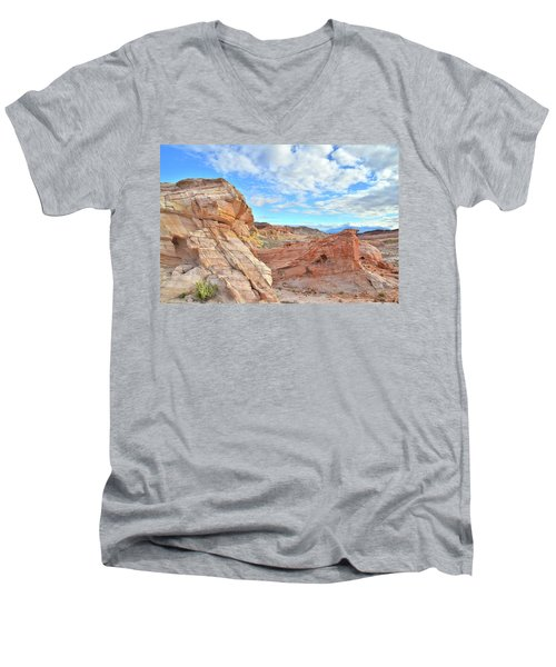 Waves Of Sandstone In Valley Of Fire Men's V-Neck T-Shirt by Ray Mathis