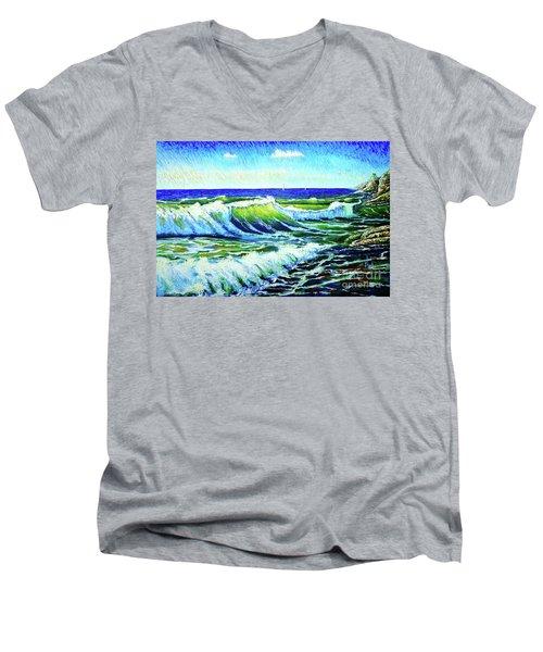 Waves Men's V-Neck T-Shirt by Viktor Lazarev
