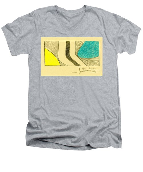 Waves Yellow Blue Men's V-Neck T-Shirt